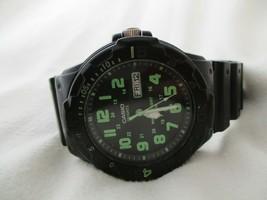 Casio Men's Black Watch Analog Green Numbers Wristwatch Quartz - $29.00