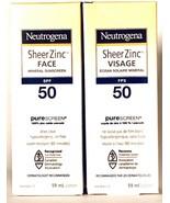 2 Neutrogena 59 mL Sheer Zinc Face SPF 50 PureScreen Mineral Sunscreen L... - $35.99