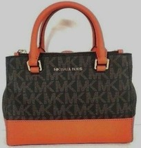 New Michael Kors Kellen XS Satchel handbag PVC with Leather Brown / Tangerine - $117.81