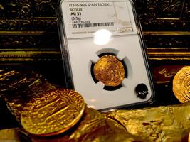 "SPAIN 1 ESCUDO 1516 -1556 ""SEVILLE MINT"" GOLD COB DOUBLOON NGC 53 TREASU... - $1,450.00"