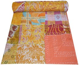Patchwork Multi Print Twin Cotton Kantha Quilt Throw Indian Bedspread - £30.39 GBP