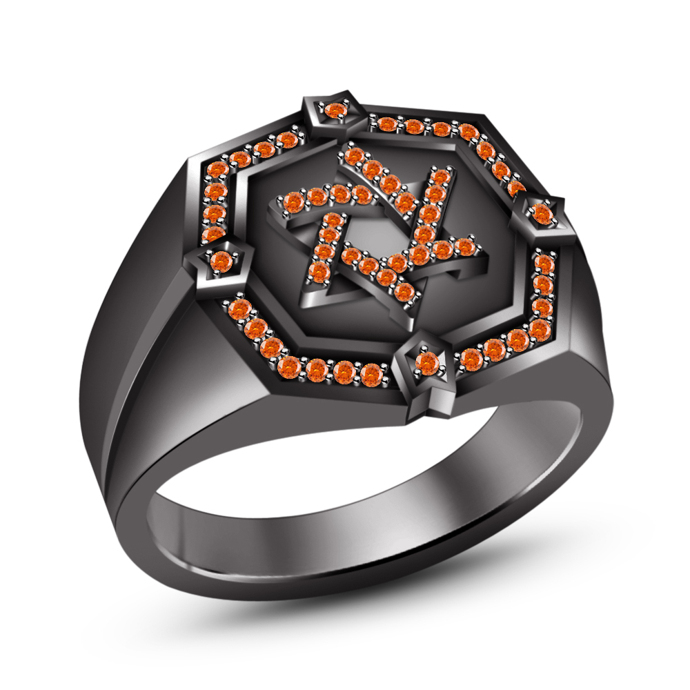 Primary image for 14k Black Gold FN. 925 Silver Orange Sapphire Jewish David Star Ring Free Ship