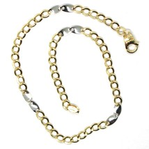Bracelet Yellow and White Gold 18K 750, Curb and Double Ovals Alternating, 3 MM image 2