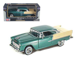 1955 Chevrolet Bel Air Green 1/24 Diecast Model Car by Motormax - $33.59
