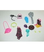 Monster High Draculaura Gloom Beach swimsuit earrings black pink accesso... - $8.90