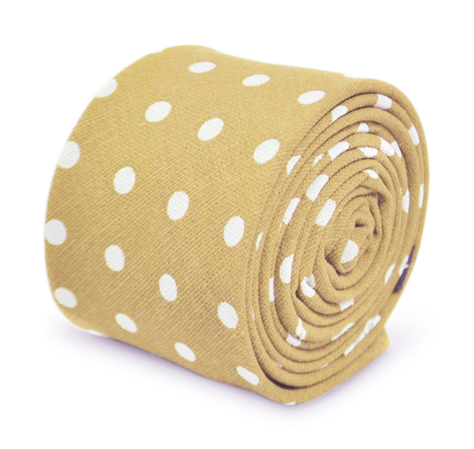 Frederick Thomas mens beige polka spot mens cotton tie FT3347