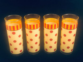 Vintage Polka Dotted Glass Ware (4) Glasses GP Orange Red Polka Dots w S... - $33.28