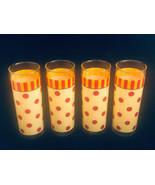Vintage Polka Dotted Glass Ware (4) Glasses GP Orange Red Polka Dots w S... - $32.95