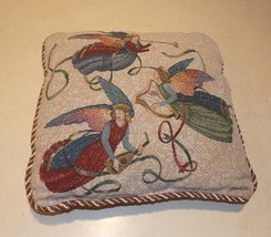 Beige Angel Print Decorative Pillow  16 x 16 - $34.95
