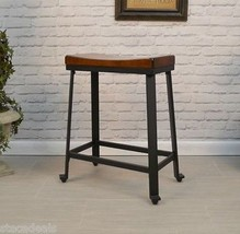 Counter Height Stool Wood Metal Industrial Kitchen High Chair Seat Rusti... - $123.19
