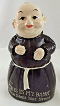 "VINTAGE ""THIS IS MY BANK THOU SHALT NOT STEAL"" CERAMIC MONK FRIAR BANK J... - $9.89"