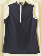 Stylish Women's Golf & Casual Sleeveless Black Mock Polo, Rhinestone Zip... - $29.95