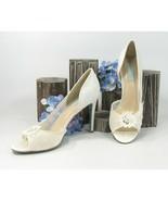 Betsey Johnson Anise Crystal Floral Ivory Satin Wedding High Heels 10 NIB - $68.81