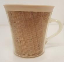 Vintage RAFFIAWARE Cup Burlap Straw Basket Plastic Mug Picnic Drink Mid ... - $22.75