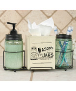 Country MASON JAR BATHROOM CADDY With TISSUE BOX COVER Farmhouse Soap Di... - $69.99