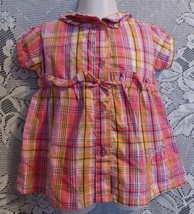 2 Be Real Pink Silver Yellow Plaid Girls Button Up Ruffle Shirt Princess... - $6.96