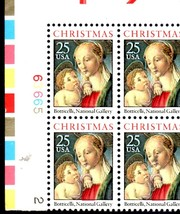 USPS Stamps - Madonna & Child Christmas 25c - 1988 Mint Plate block of 4 - $3.25