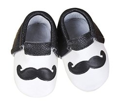 Baby Moccasins with Black and White Mustache Design for Boy Girl Infant ... - $9.99
