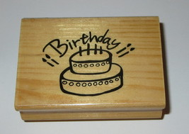Birthday Cake Rubber Stamp Candles Two Layer Wood Mounted  - $3.95