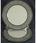Royal Doulton BROADWAY TC1287 Accent Luncheon Plates Lot of 2 Gray Platinum Rim  - $24.95