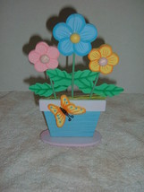 "Spring Easter wood Flowers & pot plaque  8"" tall   331 - $2.96"