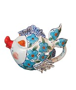 Flower Fish Teapot Ceramic Decorative Kitchen Decor New Blue Sky Diane A... - $56.99