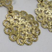"18K YELLOW GOLD PENDANT EARRINGS, DOUBLE WORKED ONDULATE FLOWER, 5.5cm, 2.2"" image 3"