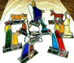 WONDERFUL - Stained Glass Nativity Set ,10 Pieces  , TEXTURED GLASS - $34.65