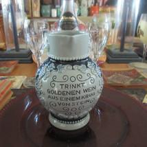 German Stein Pitcher Vintage Grape & Leaves Raised Design Gray cobalt bl... - $16.85