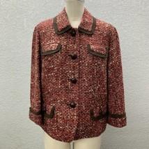 Talbots Boucle Tweed Blazer Jacket Women's 14P Petites Lined Cranberry B... - $18.95