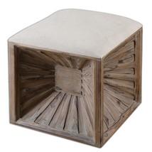 Wood Cushion Top Cube Fir Wood 19 sq Ottoman Bench Footrest Sunburst  - €304,63 EUR