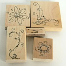 Stampin Up Doodle This Mounted Stamp Set of 5 Flowers Stem Garden Spring Nature - $9.00