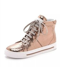Marc By Marc Jacobs Metallic Rose Gold High Top Calfskin Leather Sneakers 36 7 - $98.01