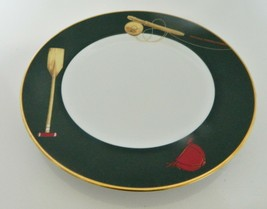Noritake Sports Page Sports Equipment Luncheon Salad Plate 4080 Gold Tri... - $12.86