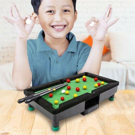 "9"" Travel Mini Pool Table 2 Sticks 16 Balls & Rack Kids / Office Desk Decoration image 5"