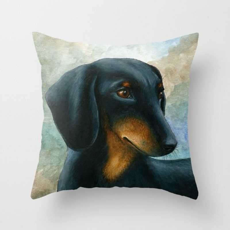 Throw Pillow Case Cushion cover Made in USA Dog 90 Dachshund art L.Dumas