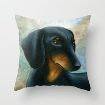Throw Pillow Case Cushion cover Made in USA Dog 90 Dachshund art L.Dumas - ₨2,008.59 INR+