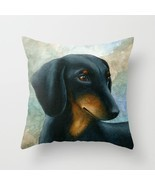 Throw Pillow Case Cushion cover Made in USA Dog 90 Dachshund art L.Dumas - ₨2,034.77 INR+