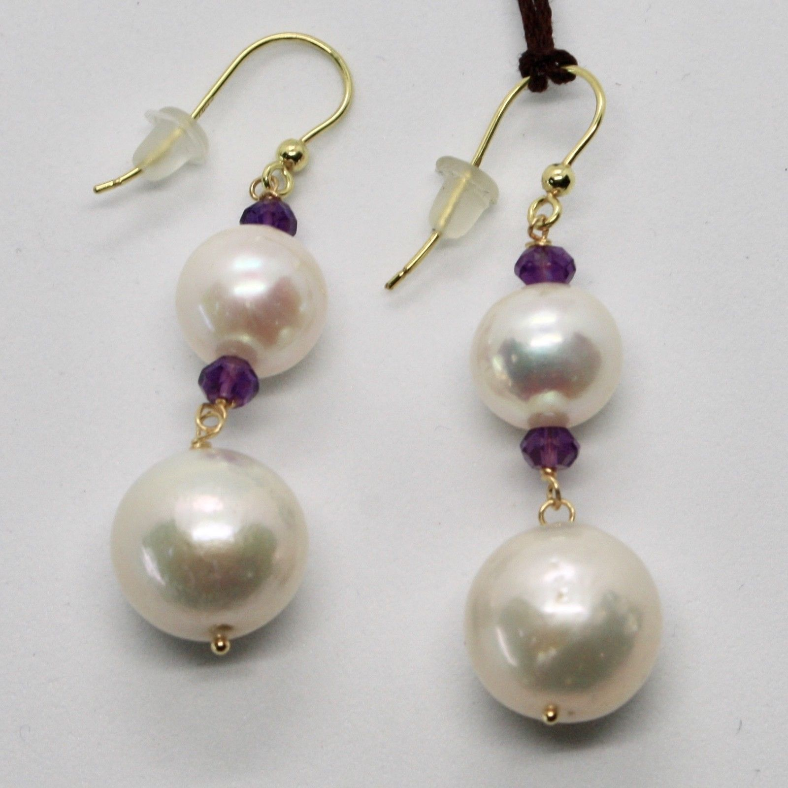 SOLID 18K YELLOW GOLD EARRINGS WITH WHITE FW PEARL AND AMETHYST MADE IN ITALY