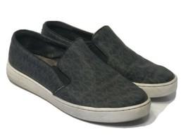 Michael Kors MK Signature Keaton Slip On Sneakers Black Logo Size 7.5 - $58.79