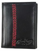Rawlings Leather Baseball Stitch Triifold - Black - $52.12