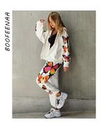 BOOFEENAA Butterfly Print White Zip Up Hoodie Sweatpants Streetwear Two ... - $67.06