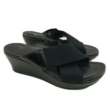 Dansko Ava 38 Cross Strap Wedge Sandals Black Patent Leather Women Size 7.5 - 8  - $44.54