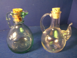 PAIR OF VINTAGE GLASS CRUETS WITH CORK STOPPERS - $10.99