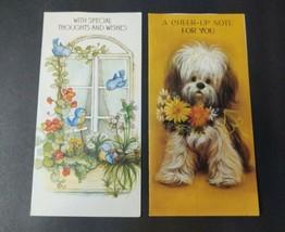 Vintage Hallmark Greeting Card Lot Puppy Dog Birds Flowers Embossed Glit... - $10.18