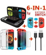 6 in1 game accessory set Black red blue For Nintendo Switch Travel Carrying Bag  - $17.87