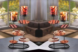 2 Modern Art Duo Tiger Print Candle Cups w/ Cutout Mirrored Shapes Candl... - $30.99