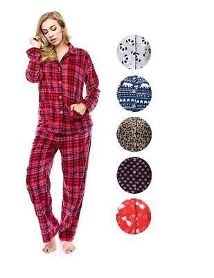 Global Women's Classic Soft Plush Cozy Polyester Pajama Sleepwear Set 93126
