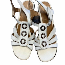 Easyspirit Womens White Open Toe Cuban Heel Leather Strappy Sandals Size US 8.5  - $22.77