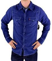 NEW LEVI'S MEN'S LINEN LONG SLEEVE BUTTON UP CASUAL DRESS SHIRT BLUE 8151400